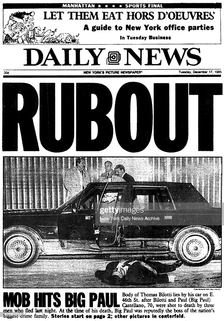 "Daily News front page -- ""Rubout"" -- The body of Thomas Bilo : News Photo"