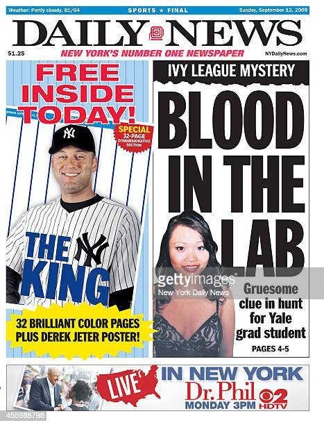 Daily News front page September 13 2009 Headline IVY LEAGUE MYSTERY BLOOD IN THE LAB Gruesome clue in hunt for Yale grad student Annie Le THE KING...