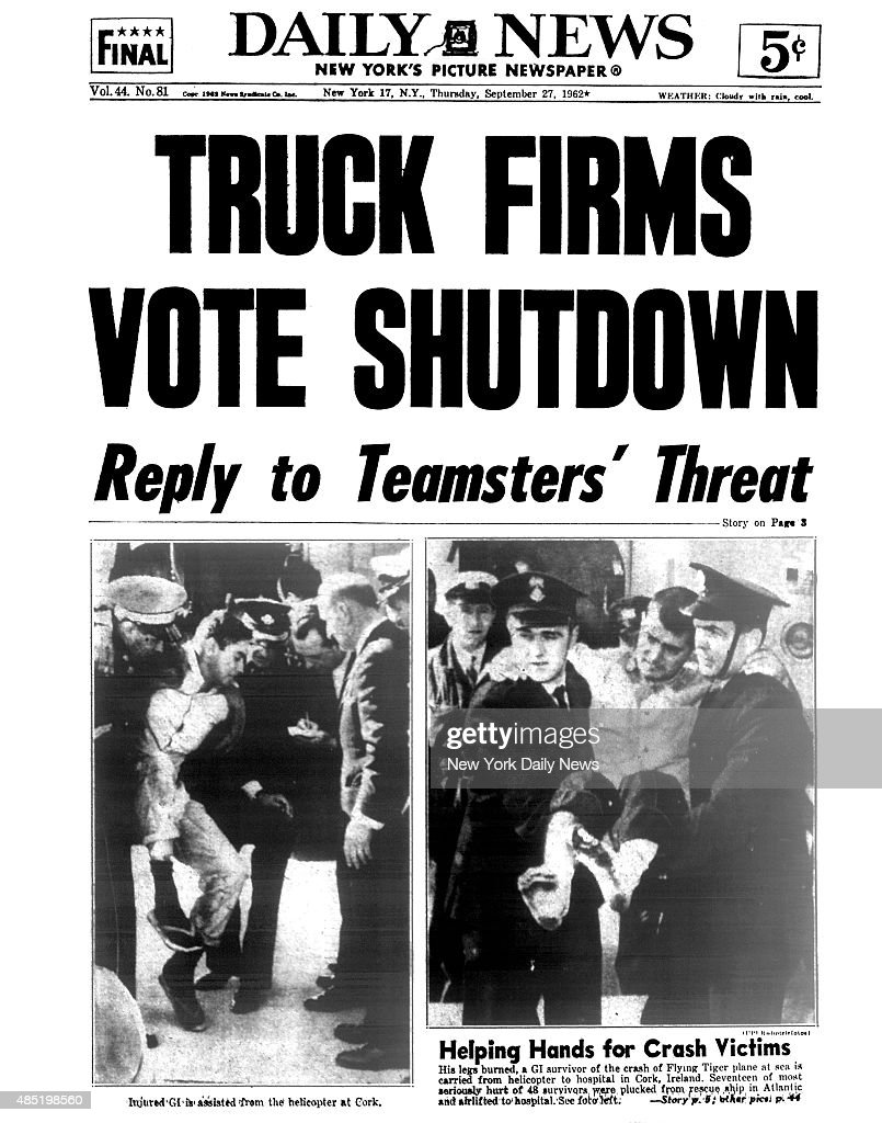 Daily News front page TRUCK FIRMS VOT SHUTDOWN - Reply to Teamsters' Threa : News Photo