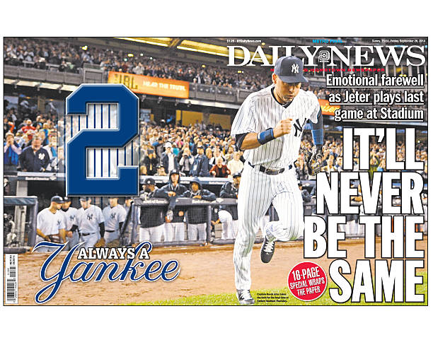 Daily News Front Page Wrap Derek Jeter Last Game