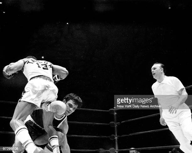 Daily News Golden Gloves at Madison Square Garden Jose Serrano of Telstar AC who lost to Alphonso Taylor United Block Assn in 126 SubNovice fight