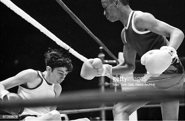 Daily News Golden Gloves Finals at Madison Square Garden Dominick Frazia who came out on attack wound up TKO victim in first round at hand of Charles...