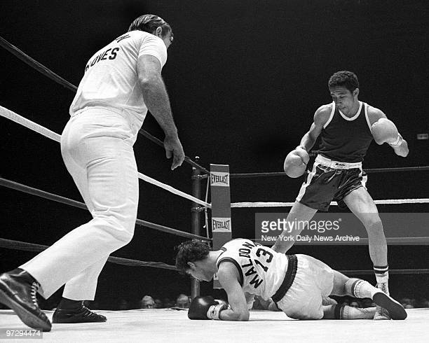 Daily News Golden Gloves Finals at Madison Square Garden Ernest Jackson stands over 126pound SubNovice opponent Gil Maldonado after flooring him in...
