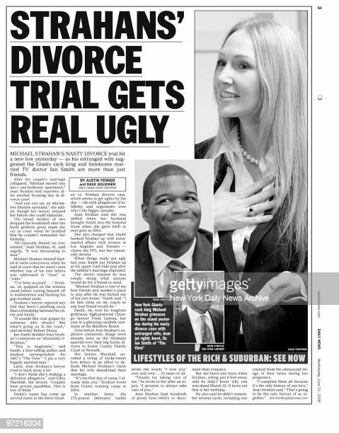 Daily News p3 dated June 21 2006 Headline STRAHANS' DIVORCE TRIAL GETS REAL UGLY Michael Strahan and wife Jean Strahan