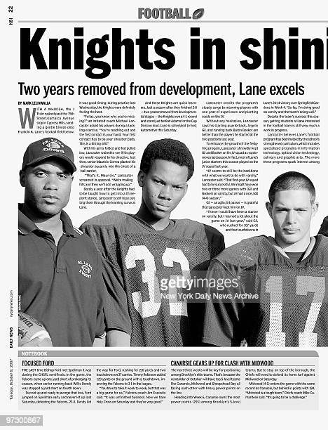 Daily News page 22 KSI dated Oct 9 Headline Knights in shining armor Franklin K Lane High School Football