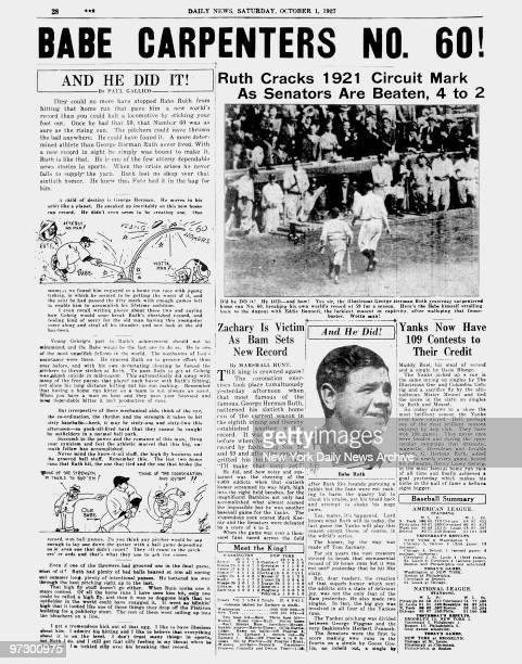 Daily News page 28 October 1 Headlines BABE CARPENTERS NO 60 Ruth Cracks 1921 Circuit Mark As Senators Are Beaten 4 to 2 New York Yankees Babe Ruth