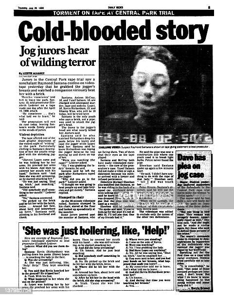 Daily News page 3 dated July 26 1990 TORMENT Coldblooded story Jog jurors hear of wilding terror Chilling Video Suspect Raymond Santana is shown on...