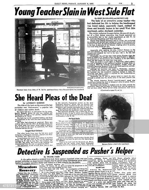 Daily News page 3 January 5 Headline Young Teacher Slain in West Side Flat The body of an attractive young teacher who had dedicated her life to...