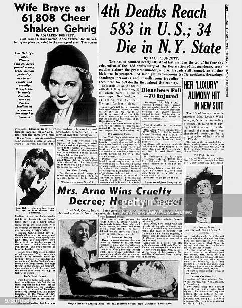 Daily News page 3 July 5 Headline Wife Brave as 61808 Cheer Shaken Gehrig Lou Gehrig wife Eleanor proved a very brave women yesterday as she sat...