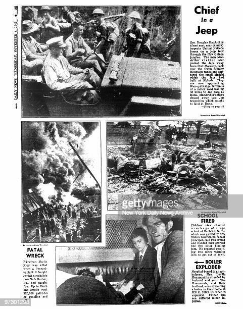 Daily News page 32 dated Nov 4 Headline Chief in a Jeep Gen Douglas MacArthur inspects United Nations forces on a jeep tour through the New Guinea...
