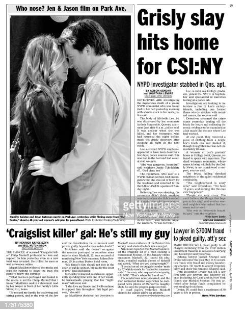 Daily News page 5 April 28 Headline Grisly slay hit home for CSINY NYPD investigator stabbed in Queens apt The body of Michelle Lee 24 was discovered...
