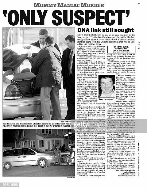 Daily News page 5 dated March 8 Headline 'ONLY SUSPECT' DNA link still sought Cops take away seat found in Darryl Littlejohn's Queens flat yesterday...