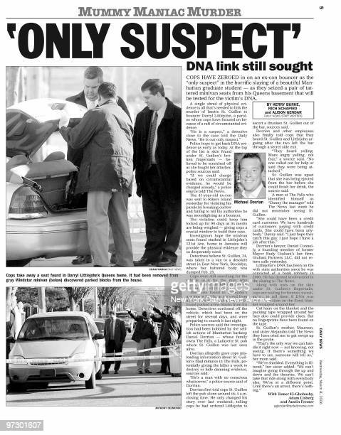 Daily News page 5 dated March 8 Headline: 'ONLY SUSPECT' DNA link still sought, Cops take away seat found in Darryl Littlejohn's Queens home from...