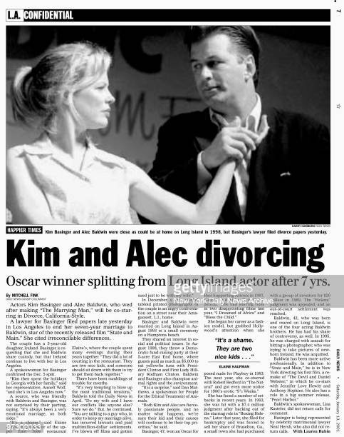 Daily News page 7 January 13 Headline Kim and Alec divorcing Oscar winner splitting from Long Island actor after 7 yrs Kim Basinger and Alec Baldwin