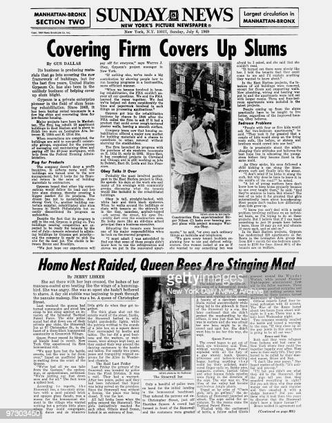 Daily News page M1 Section Two dated Sunday July 6 1969Headline Covering Firm Covers Up SlumsConstruction firm superintendent Birger Nilson looks...