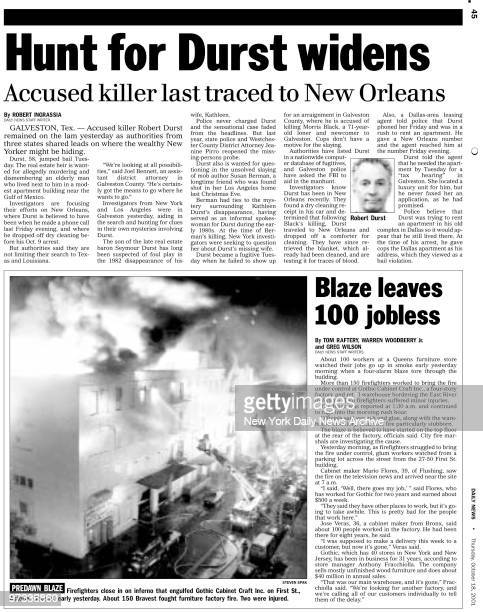 Daily News page October 18 2001 on Robert Durst Headline Hunt for Durst Widens