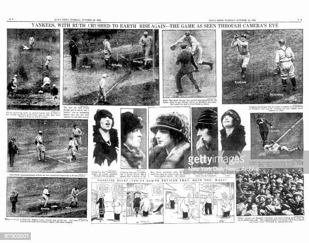 Daily News pages 14 15 October 16 Headlines Yankees with Ruth crushed to earth rise again the game as seen through camera's eye New York Yankees Babe...