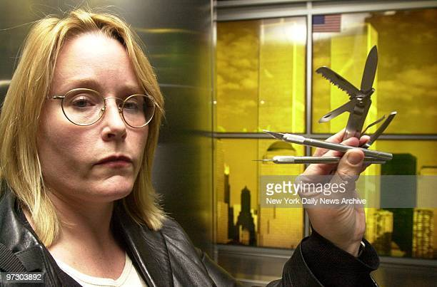 Daily News reporter Alison Gendar displays several sharp instruments she slipped past security at Lambert St Louis International Airport en route to...