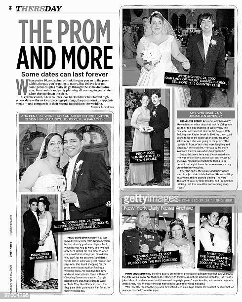 Daily News Thersday section page 44 dated April 10 Headline THE PROM AND MORE Ana Pena and Darryl Boodoo Amy Wisnoski and Jonathan Keyes Jennifer...