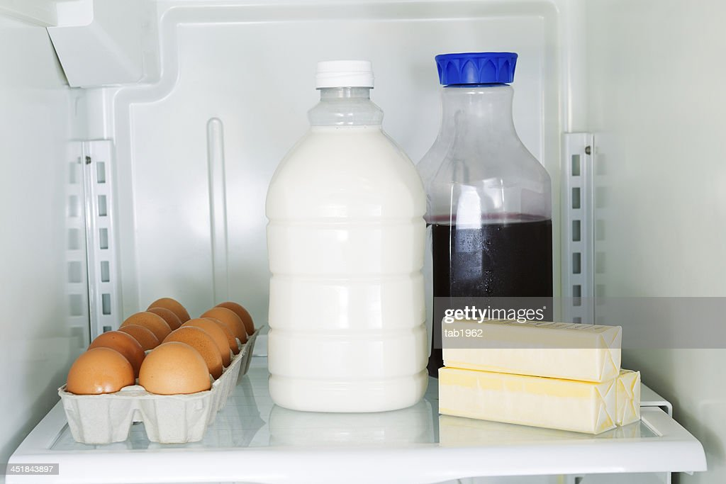 Daily Products in Refrigerator : Stock Photo
