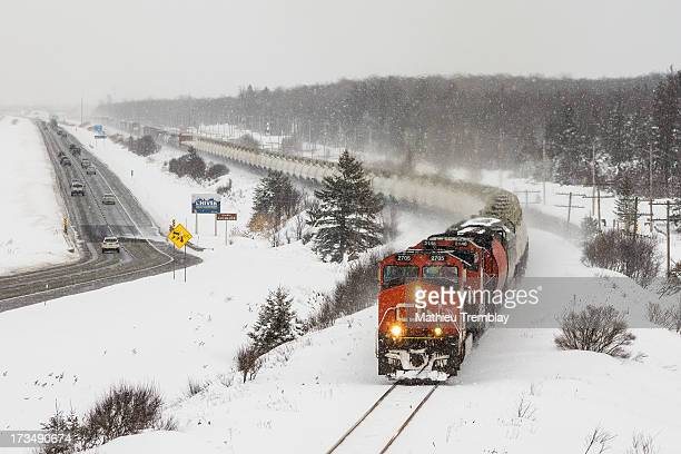 CONTENT] Daily QuébecToronto train 309 has just left Joffre yard and is seen rolling west along highway 20