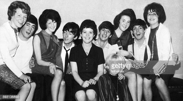 Daily Record Competitions Winners October 1963 Meet the Beatles contest pictured with the Beatles are Jean Rankin June Begg Teresa Haggart Christine...
