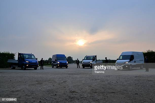 IVECO Daily vehicles in the sunset