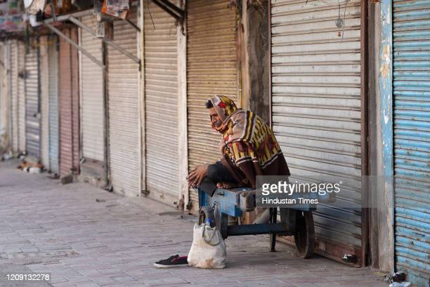 A daily wage worker seen on his hand cart on day eleven of the 21day nationwide lockdown to curb the spread of coronavirus at Sadar Bazar on April 4...