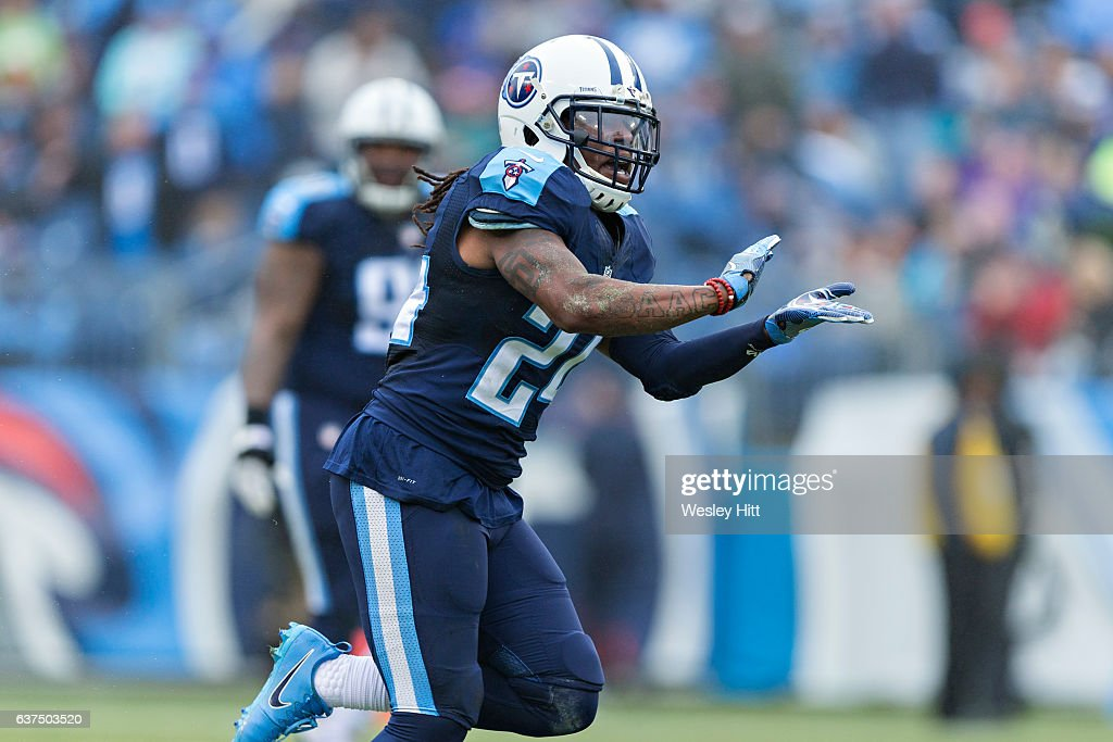 Daimion Stafford #24 of the Tennessee Titans celebrates after sacking Brock Osweiler #17 of the Houston Texans at Nissan Stadium on January 1, 2017 in Nashville, Tennessee. The Titans defeated the Texans 24-17.