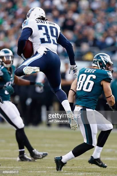 Daimion Stafford of the Tennessee Titans makes an interception against the Philadelphia Eagles during the third quarter of the game at Lincoln...