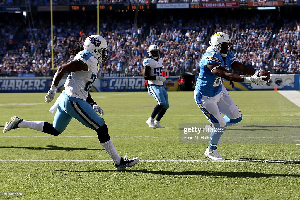 Daimion Stafford #24 of the Tennessee Titans pursues Antonio Gates #85 of the San Diego Chargers into the end zone as the Chargers score in the first half at Qualcomm Stadium on November 6, 2016 in San Diego, California.