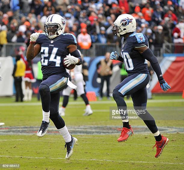 Daimion Stafford of the Tennessee Titans reacts after recovering a fumble in the last minute of a 1310 victory over the Denver Broncos during the...