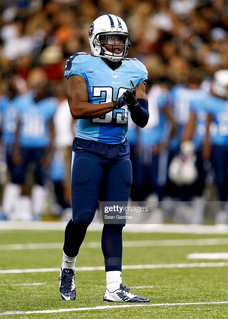 Daimion Stafford #39 of the Tennessee Titans reacts to a play during a preseason game against the New Orleans Saints at the Mercedes-Benz Superdome on August 15, 2014 in New Orleans, Louisiana.