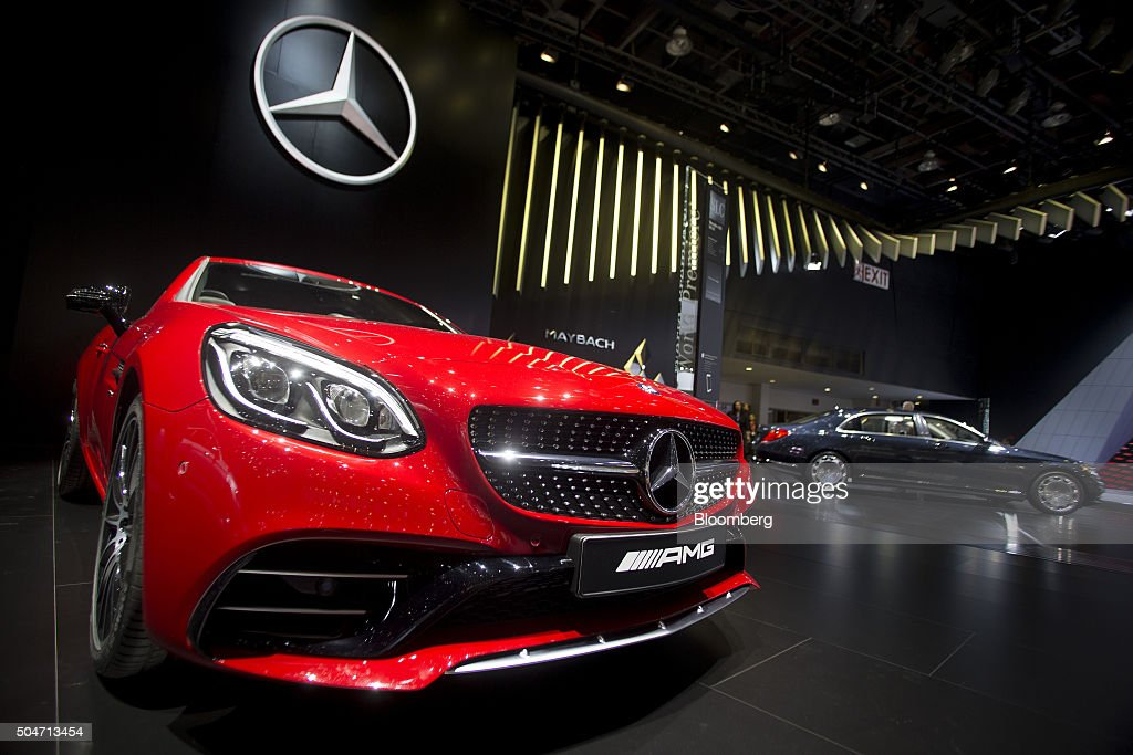 A Daimler AG Mercedes Benz AMG SLC43 vehicle sits on display during the 2016 North American International Auto Show (NAIAS) in Detroit, Michigan, U.S., on Tuesday, Jan. 12, 2016. Last year's auto show featured 55 vehicle introductions, a majority of which were worldwide debuts, and was attended by over 5,000 journalists from 60 countries. Photographer: Andrew Harrer/Bloomberg via Getty Images