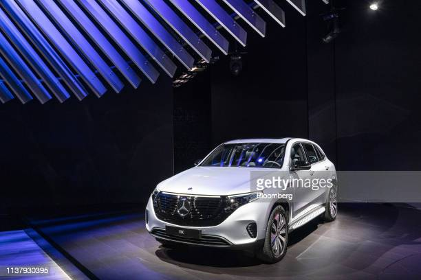 Daimler AG Mercedes-Benz EQC Edition 1886 sports utility vehicle is displayed during the 2019 New York International Auto Show in New York, U.S., on...