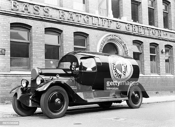 A Daimler TL30 Bass and Pale Ale bottle shaped lorry seen here outside the Bass Ratcliffe and Gretton brewery in Coventry West Midlands Circa June...