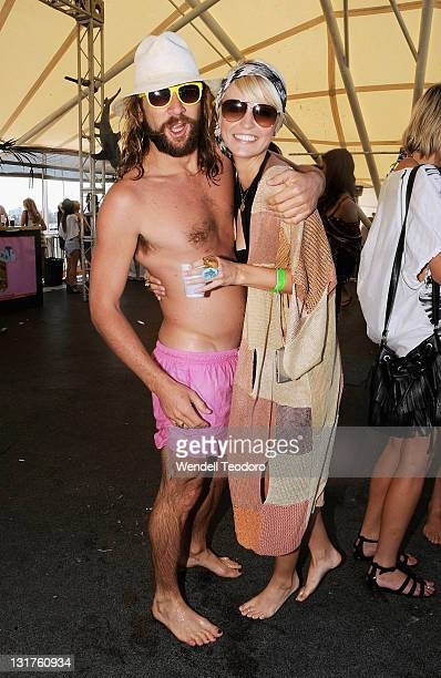 Daimon Downey and Lucy Taffs attends the Stab Magazine and Von Zipper sunglasses Shark Fin Soup party at Rose Bay wharf on November 1 2009 in Sydney...