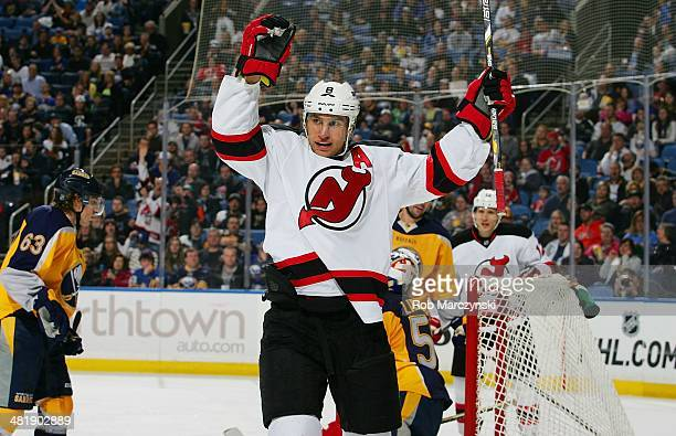 Dainius Zubrus of the New Jersey Devils celebrates his second period goal against the Buffalo Sabres on April 1 2014 at the First Niagara Center in...