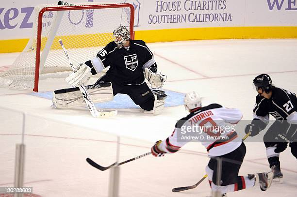 Dainius Zubrus of the New Jersey Devils shoots and scores a goal against Jonathan Bernier of the Los Angeles Kings at Staples Center on October 25...