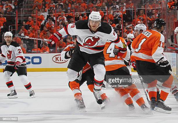 Dainius Zubrus of the New Jersey Devils skates after the puck in his game against the Philadelphia Flyers in Game Three of the Eastern Conference...