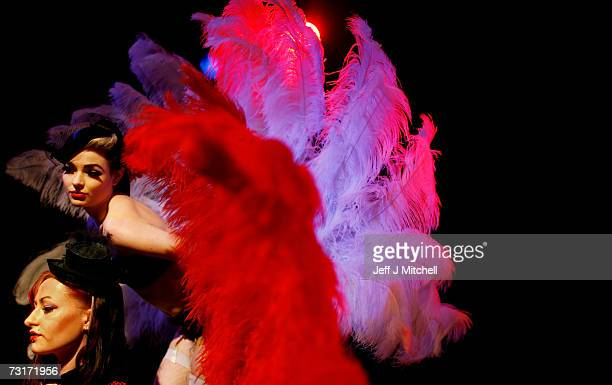 Daiquiri Dusk and Missy Malone of the Ministry of Burlesque rehearse at the Classic Grand nightclub, on February 1, 2007 in Glasgow, Scotland. The...