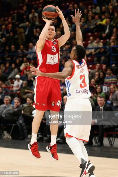Dairis Bertans #45 of AX Armani Exchange Olimpia Milan in action during the 2017/2018 Turkish Airlines EuroLeague Regular Season Round 24 game...
