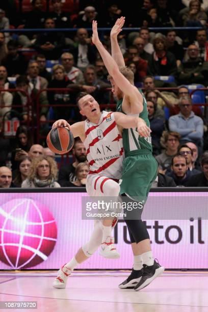 Dairis Bertans #9 of AX Armani Exchange Olimpia Milan in action during the 2018/2019 Turkish Airlines EuroLeague Regular Season Round 20 game between...