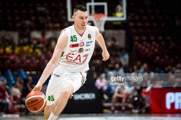 Dairis Bertans drives to the basket during a basketball game of Poste Mobile Lega Basket A between EA7 Emporio Armani Milano vs VL Pesaro at...