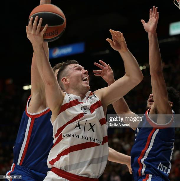 Dairis Bertans of AX Armani Exchange Olimpia Milan shoots against Shane Larkin of Anadolu Efes Istanbul during the Turkish Airlines EuroLeague...