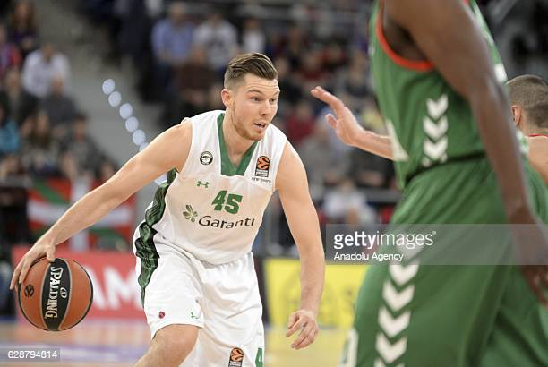 Dairis Bertans of Darussafaka Dogus in action during the Turkish Airlines Euroleague basketball match between Baskonia and Darussafaka Dogus at...