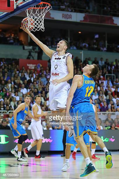 Dairis Bertans of Latvia goes for the basket during the FIBA EuroBasket 2015 Group D basketball match between Latvia and Ukraine at Arena Riga on...
