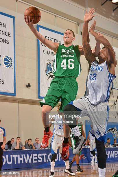 Dairis Bertans of the Boston Celtics takes a shot against the Detroit Pistons during the Samsung NBA Summer League 2014 on July 9 2014 at Amway...