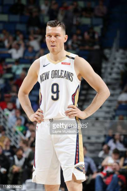 Dairis Bertans of the New Orleans Pelicans looks on during the game against the Milwaukee Bucks on March 12 2019 at the Smoothie King Center in New...
