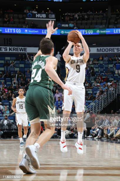 Dairis Bertans of the New Orleans Pelicans shoots the ball against the Milwaukee Bucks on March 12 2019 at the Smoothie King Center in New Orleans...